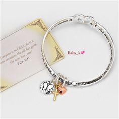 2 Corinthians 5:17 Bracelet NWT-Silvertoned twisted with cross butterfly charms bracelet Boutique Jewelry Bracelets