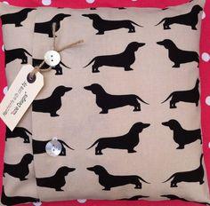 """Dachshund"" (dog) cotton fabric cushion cover #Printed"