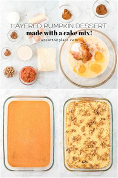 Just a few minutes turns out this layered pumpkin dessert with yellow cake mix. It's the perfect Thanksgiving dessert idea! Thanksgiving Desserts, Fall Desserts, Just Desserts, Delicious Desserts, Best Dessert Recipes, Sweet Recipes, Pumpkin Recipes, Fall Recipes, Lavender Recipes