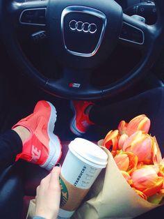 Friday Errands. Nike Air Huarache Ultra in Mango. Audi S4. Tulips. Starbucks Coffee.