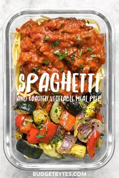 Comfort food and a generous helping of good-for-you vegetables, this Spaghetti and Roasted Vegetable Meal Prep is the best of both worlds! prep recipes Spaghetti and Roasted Vegetable Meal Prep - Budget Bytes Veggie Meal Prep, Vegetarian Meal Prep, Lunch Meal Prep, Easy Meal Prep, Healthy Meal Prep, Easy Meals, Meal Prep For Vegetarians, Food Prep, Veggie Meals