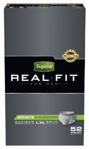 Depend Real Fit Underwear for Men Maximum Absorbency Economy Plus Pack, Large/X-Large, 52 Count by Depend. $57.15. Finished masculine elastic waistband. All-around leg elastics. Worry-free odor protection. Small and medium waist; Large and x-large waist. Cotton-like fabric. From the Manufacturer                Style and Protection Just for YouGet the look, fit and feel of real underwear - and the Depend brand's best protection†. Cloth-like fabric gives you underwe...