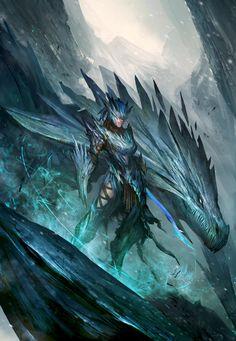 by theDURRRRIAN/ female dragon rider armor warrior fantasy art blue ice Mythological Creatures, Mythical Creatures, Fantasy World, Dark Fantasy, Shyvana League Of Legends, Dragon Medieval, Splash Art, Female Dragon, Dragon Rider