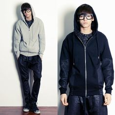 Remember Click Stitched Side Zip Up Hoodie BLACK GRAY ONE SIZE Korean Wear #RememberClick #Hoodie