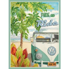 Amazon.com - Park and Ride Metal Sign: Surfing and Tropical Decor Wall Accent - Wall Sculptures
