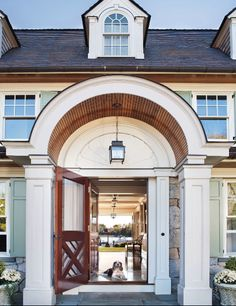 ⚓️Arched portico with stained ship lap, stone