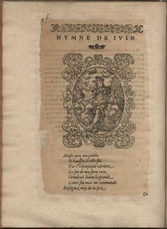 Hymne de Juin. Hymnes du temps et de ses parties, Lyon, Jean de Tournes, 1560, in-4, exemplaire remonté (BmL, Rés 373727, p. 56).