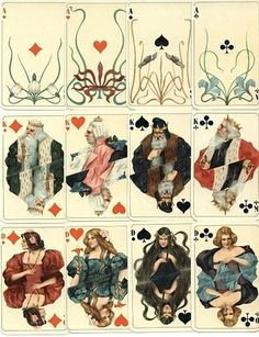 German Art Nouveau playing cards printed in Attenburg 1900 - History of graphic design - Wikipedia, the free encyclopedia Playing Cards Art, Vintage Playing Cards, Art Nouveau Pintura, Motifs Art Nouveau, Art Design, Art And Illustration, Girl Illustrations, Art Plastique, Art Inspo