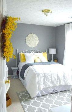 55 Amazing Small Master Bedroom Decorating Design Ideas on a Budget - Bedroom Ideas - Bedroom Decor Yellow Master Bedroom, Master Bedroom Design, Bedroom Colors, Bedroom Designs, Yellow Bedrooms, Silver Bedroom, Mustard And Grey Bedroom, Mustard Walls, Bedroom Themes