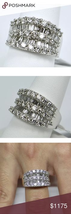 2.40 carat 14k white gold diamond baguette ring 2.40 carat 14k white gold diamond baguette ring! Baguette and round diamonds! Can be resized! Jewelry Rings