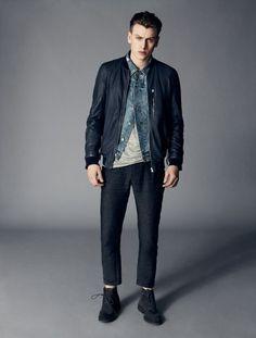 Men's Navy Leather Bomber Jacket, Blue Denim Jacket, Grey Crew-neck T-shirt, Charcoal Sweatpants Blue Bomber Jacket, Gray Jacket, Bomber Jackets, Denim Jackets, Leather Jackets, Oversized Denim Jacket, Denim Jacket Men, New Mens Fashion, Men's Fashion