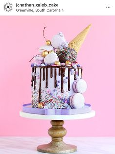 Without the ice cream cone cream design selber machen ice cream cream cream cake cream design cream desserts cream recipes Pretty Cakes, Cute Cakes, Beautiful Cakes, Yummy Cakes, Amazing Cakes, Crazy Cakes, Fancy Cakes, Bolo Cake, Ice Cream Party