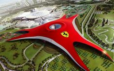 Ferrari World in Dubai is the largest indoor amusement park. There are all kinds of attractions in Ferrari theme. It will be weird to play the Ferrari roller coaster. Hereis something i cant wait to doo! Scary Roller Coasters, Roller Coaster Ride, Expo 2020, Unique Buildings, Amazing Buildings, Interesting Buildings, Museum Architecture, Amazing Architecture, Commercial Architecture