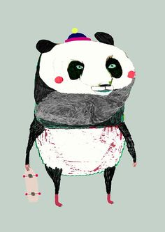 Wall art for Kids. The Panda. Children's Wall Decor.
