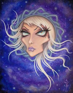 8 x 10 imprimer Fantasy Lowbrow ventru femme fille noeud celtique Frame Purple Night Sky surréalisme Pop Star Art Reproduction par Natalie VonRaven