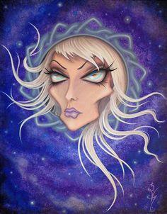 8 x 10 imprimer Fantasy Lowbrow ventru femme fille noeud celtique Frame Purple Night Sky surréalisme Pop Star Art Reproduction par Natalie VonRaven