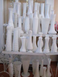vintage milk glass vases for reception tables