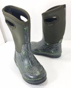 Bogs Olive Green Spider Winter Water Snow Rain Boots Kids Size 3 #Bogs #Boots