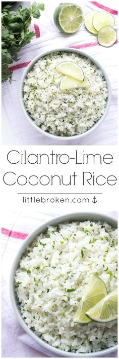 Cilantro-Lime Coconut Rice - cooked in coconut milk and loaded with fresh cilantro and lime zest.