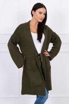 Nádherný dámsky pletený kardigán army zelený Cold Day, Blazer, Elegant, Wool, Sleeves, Sweaters, Jackets, Tie, Fashion