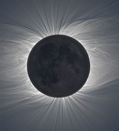 Composite Image of the Moon Taken from 47 Photos Reveals Solar Corona During a Total Solar Eclipse.