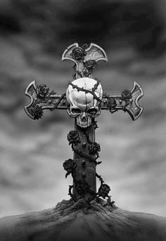 Skull and cross Skull Tattoo Design, Skull Tattoos, Skeleton Tattoos, Cross Tattoos, Skull Wallpaper, Wallpaper Backgrounds, Wallpapers, Dark Fantasy Art, Dark Art