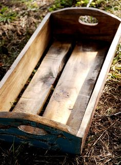 """Distressed Wood Crates with Carved Handles (21.5"""" long) $24  (I likkee it!)"""