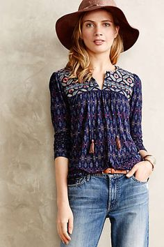 Anthropologie - Majorelle Peasant Top