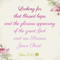 """""""Looking for that blessed hope, and the glorious appearing of the great God and our Saviour Jesus Christ;""""  Titus 2:13"""