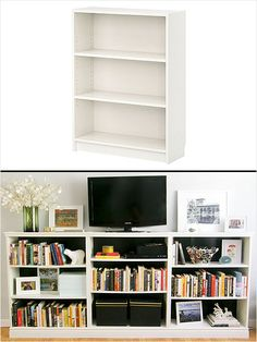 Create a custom entertainment center with Ikea's Billy Bookcases. #home #diy http://www.ivillage.com/ikea-hack-how-transform-and-repurpose-your-ikea-furniture/7-a-525310