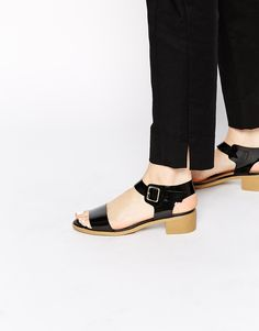 Image 1 ofNew Look Oprah Black Patent Heeled Sandals