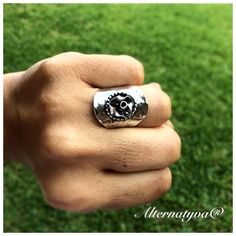 Gladiator Ring. Totally handcrafted in sterling silver and fine silver.