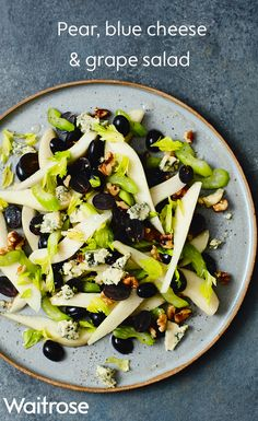 Salads aren't just for the summer season; they taste great in winter too. Why not try our blend of pear, blue cheese and grape for a quick and easy lunch.  See more delicious recipes on the Waitrose website.