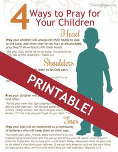 "Here are 4 foundational things to pray for children daily. Just think of the song ""Head, Shoulders, Knees and Toes!"" An easy way to inspire your prayer life today!"