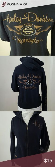 Harley-Davidson Genuine Motor Clothes Black with brown lettering accented with rhinestones.  Detailing on sleeves, back, pocket, and breast.  Logo zip pull.  The hood tie is missing, but otherwise in great condition. Harley-Davidson Jackets & Coats