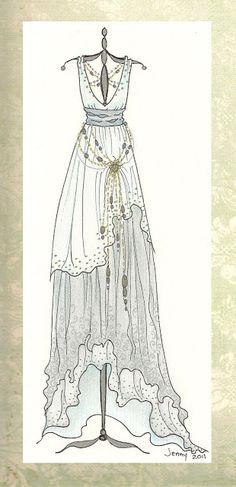 Lichtblauwe lange jurk