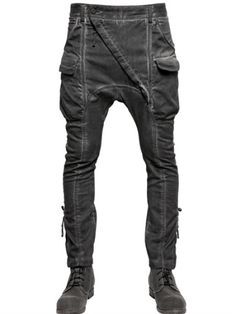 Visions of the Future: Alexandre Plokhov Stretch Cotton Twill Cargo Trousers in Black for Men (CHARCOAL)
