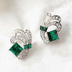 Art Deco Emerald Green Crystal Earrings