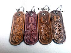 Personalized keychain leather key fob tooled by LakesideLeather