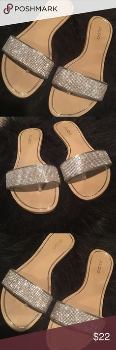 Aldo Rhinestone Sandals 7 Aldo Rhinestone Sandals! Worn a few times! As you can see the soles look new! The bottoms are dirty I must of walked on black payment!! Size 7 Aldo Shoes Sandals