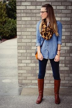 do this with jean shirt that has black trim, leopard scarf, black pants and boots