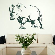 Rhino Animal Kitchen Wall Stickers / Wall Decals / Wall Art Murals Large Big UK AN14 on Etsy, $31.98