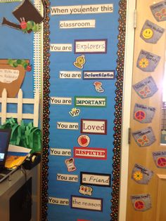 Here is a bulletin board located in the third grade community which explains how each student feels when they are in class. Some examples are being loved and respected.
