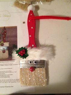 Santa Claus paint brush ornament