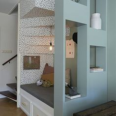 Lovely idea for a room divider (it doesn't necessarily have to be under the stairs ; House Design, Interior, Home, Happy New Home, House Inspiration, House Interior, Home Deco, Home And Living, Living Room Designs