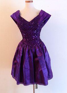 Vintage 80s Purple Sequin Gunne Sax Retro Prom Dress