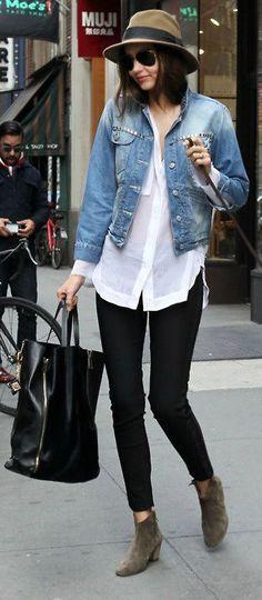 casual #street #style. #denim jacket   white #buttondown   #black skinny pants   booties