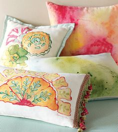 Hand-painted Portia pillows by Eastern Accents