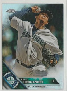 FELIX HERNANDEZ 2016 Topps Chrome REFRACTOR Parallel Card #192 MARINERS…