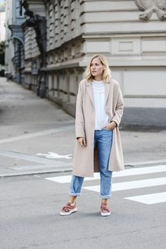 tifmys – Zara romantic blouse and coat, Levi's vintage jeans & Bronx slip-ons.